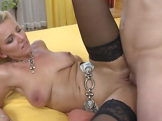 Taboo home sex with sexy mom and young son